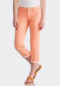 Cropped Coral Denim Jeans