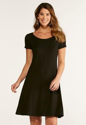 Lattice Back Knit Swing Dress | Tuggl