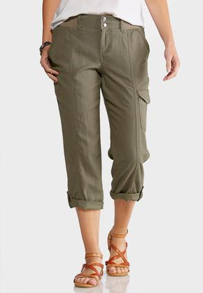 Linen Cargo Crop Pants at Cato in Brooklyn, NY | Tuggl