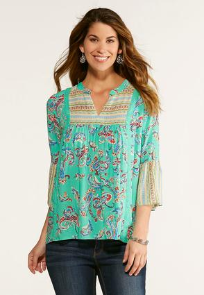 Mixed Green Paisley Poet Top