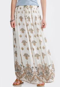 Plus Size Gauze Shell Floral Maxi Skirt
