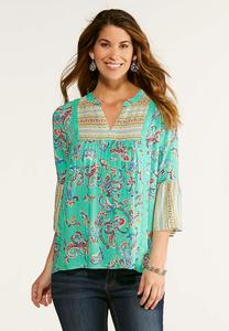 Plus Size Mixed Green Paisley Poet Top
