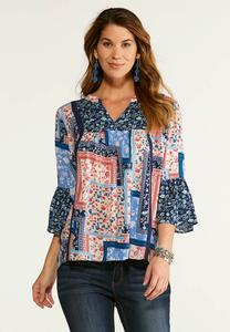 Plus Size Patchwork Twin Poet Top