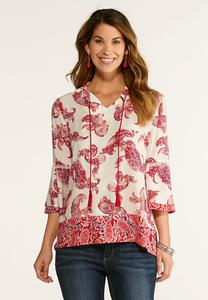Plus Size Tasseled Paisley Poet Top