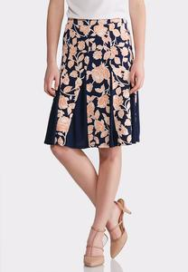 Plus Size Pleated Floral Print Skirt