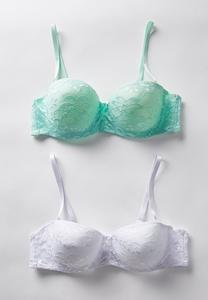 Green And White Lace Bra Set