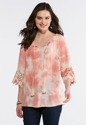 Tie Dye Lace Trim Poet Top