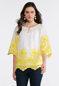 Yellow Embroidered Poet Top