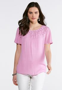 Gauze Crochet Neck Top