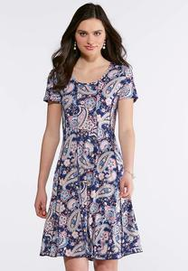 Seamed Blush Navy Paisley Dress