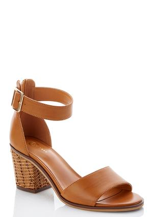 Wide Width Woven Heel Chunky Sandals | Tuggl
