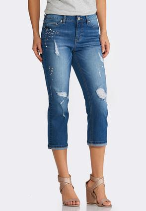 Studded Distressed Crop Jeans | Tuggl