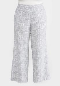Plus Size Wide Leg Geo Linen Pants