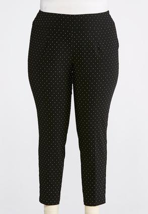Plus Size Multicolored Speckled Pull- On Pants
