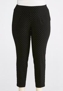 Plus Size Multicolored Speckled Pull-On Pants
