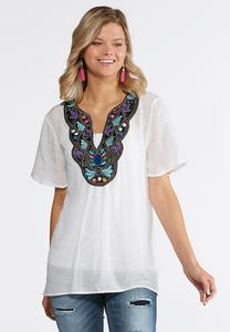 Plus Size Embellished Crepe Woven Top
