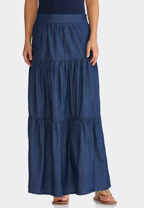 Plus Size Tiered Denim Maxi Skirt | Tuggl