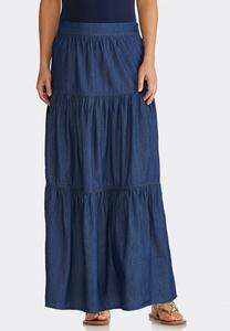 Plus Size Tiered Denim Maxi Skirt