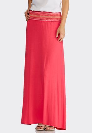 Plus Size Smocked Waist Maxi Skirt   Tuggl