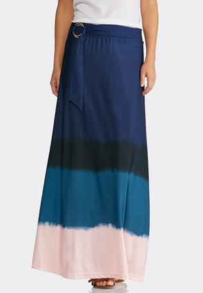 Plus Size Belted Dip Dye Maxi Skirt