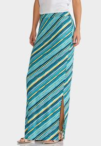 Plus Size Dotted Stripe Maxi Skirt