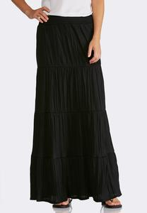 Plus Size Crinkled Peasant Maxi Skirt