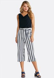 Cropped Solid And Stripe Jumpsuit