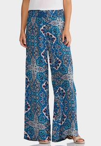 Crinkled Mixed Blue Palazzo Pants
