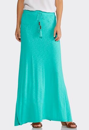 Plus Size Drawstring Slub Maxi Skirt   Tuggl