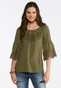 Plus Size Woven Gauze Lace Trim Top