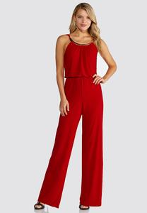 Red Embellished Jumpsuit