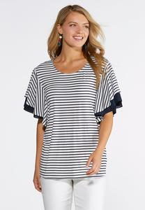 Plus Size Stripe Layered Sleeve Top