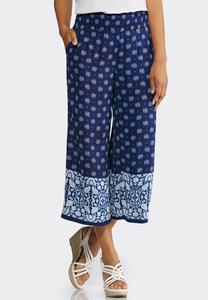 Cropped Bordered Print Pants