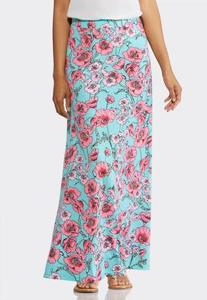 Plus Size Scenic Poppies Maxi Skirt | Tuggl