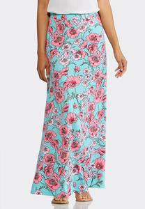 Plus Size Scenic Poppies Maxi Skirt