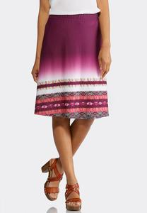 Plus Size Royal Ombre Printed Skirt