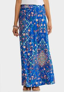 Plus Size Turquish Sea Maxi Skirt