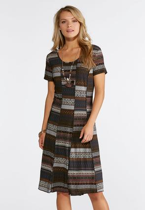 Plus Size Seamed Tribal Stripe Dress
