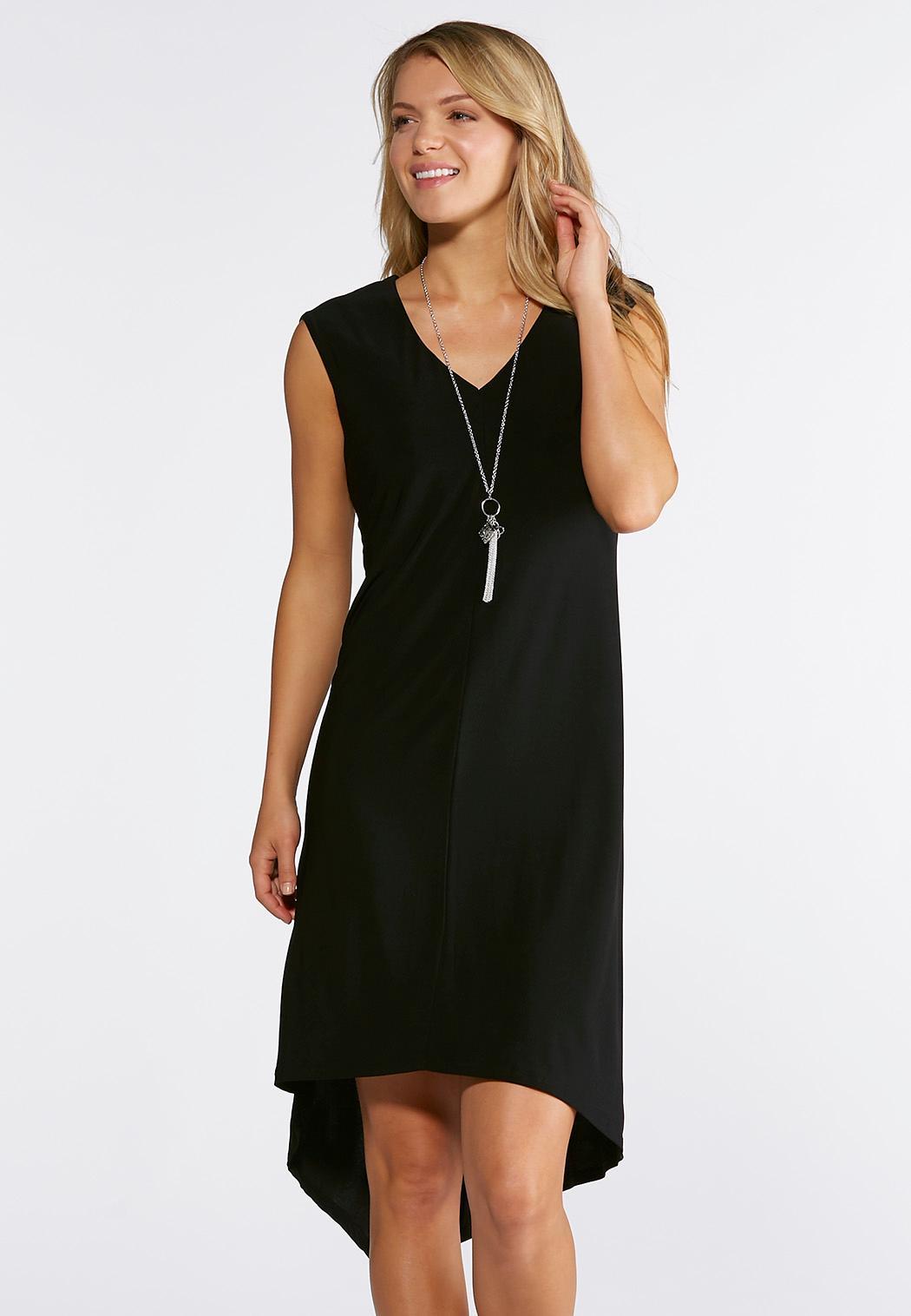 Plus Size Black High-Low Shift Dress Dresses Cato Fashions