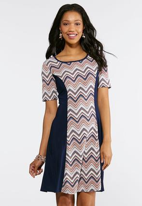 Chevron Puff Print Dress