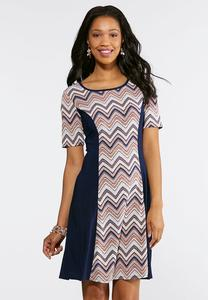 Plus Size Chevron Puff Print Dress