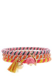 Tasseled Seed Bead Bangle Set