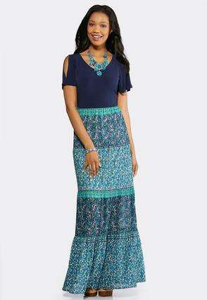Plus Size Tiered Mixed Media Maxi Dress | Tuggl