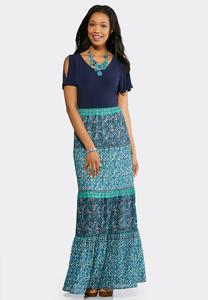 Plus Size Tiered Mixed Media Maxi Dress
