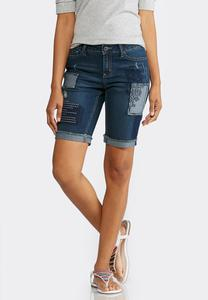 Patchwork Denim Bermuda Shorts