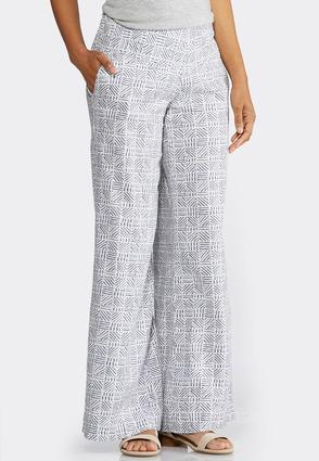 Wide Leg Geo Linen Pants at Cato in Lewisburg, TN | Tuggl