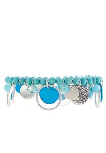 Blue Shaky Bead Stretch Bracelet
