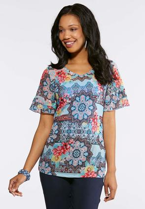 Plus Size Mixed Floral Mesh Top | Tuggl