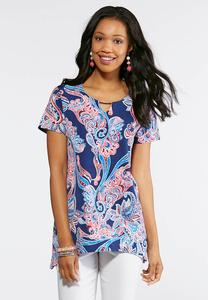 Blue Puff Paisley Top