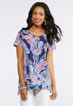 Plus Size Blue Puff Paisley Top | Tuggl